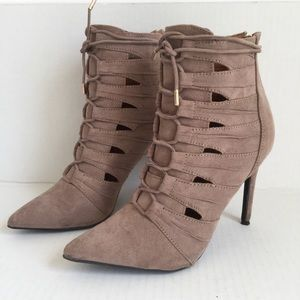 Rouge Helium Taupe Lace Up Ankle Boots High Heel
